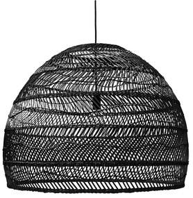 HKliving Wicker Wicker Rieten Hanglamp L - H60-⌀80 Zwart