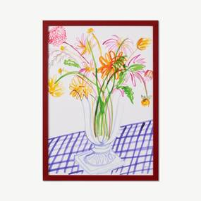 Frances Costelloe, 'Dahlias on Gingham Table' limited edition, ingelijste print, A2