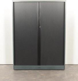 Roldeurkast, donker groen/zwart, 161 x 120 cm, incl. 3 legborden