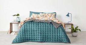 Korba bedsprei, 225 x 220 cm, turkooisblauwe en grafietgrijze zijde