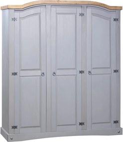 Kledingkast 3 deuren Mexicaans grenenhout Corona-stijl grijs