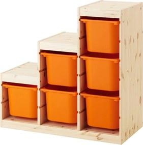 TROFAST Opbergcombinatie 94x44x91 cm licht witgebeitst grenen/oranje