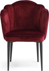 Rivièra Maison - Lauderdale Dining Chair Black Leg, velvet III, burgundy XSX