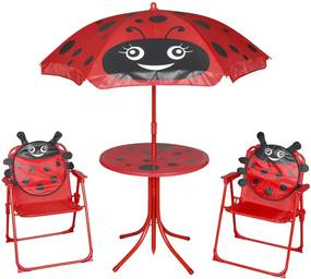 3-delige Bistroset voor kinderen met parasol rood