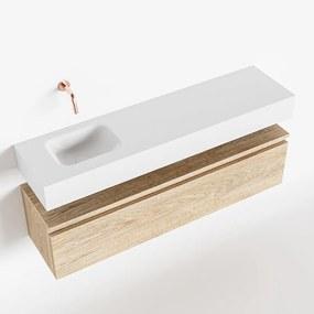 MONDIAZ ANDOR 120cm toiletmeubel washed oak. LEX 120cm wastafel talc links geen kraangat