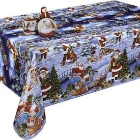 Kerst Tafelzeil Kerstman Sneeuw 140cm