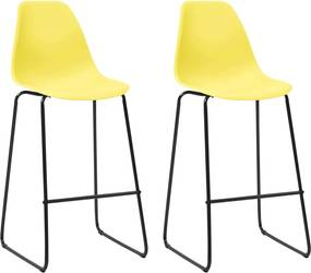 Barstoelen 2 st kunststof geel
