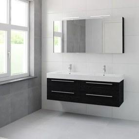 Bruynzeel Bando badmeubelset 150x45cm 2 kraangaten 2 wasbakken 4 lades met spiegelkast met softclose Composiet zwart eiken 123101999