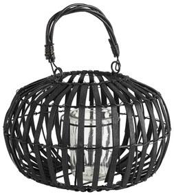 Lantaarn hout - zwart - 25x16 cm