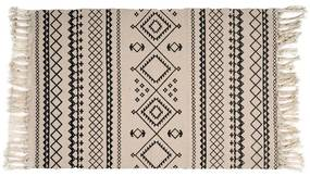 Vloerkleed azteken patroon - zwart/wit - 90x60 cm