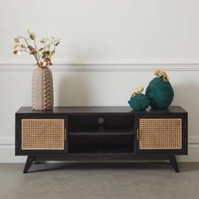 Zwart Tv-meubel Met Webbing - 140x40x50cm.