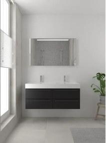 Bruynzeel Bando badmeubelset 120x45cm 2 kraangaten 2 wasbakken 4 lades met spiegel met softclose Composiet zijde zwart 123102816