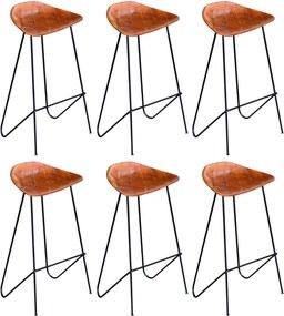 Barstoelen 6 st echt leer bruin