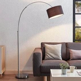Gebogen vloerlamp Kelja, zwarte stoffen lampenkap - lampen-24
