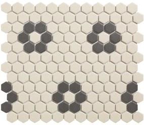 The Mosaic Factory London mozaiëktegel 2,3x2,3x0,6cm hexagon onverglaasd porselein vloertegel voor binnen en buiten vorstbestendig 4 bloemen p vel wit met zwart LOH-Kensington-4