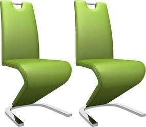 Eetkamerstoelen met zigzag-vorm 2 st kunstleer groen