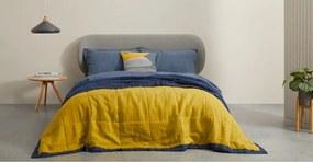 Brisa zachtgewassen bedsprei van 100% linnen 220 x 225cm, mosterdgeel en donkerblauw