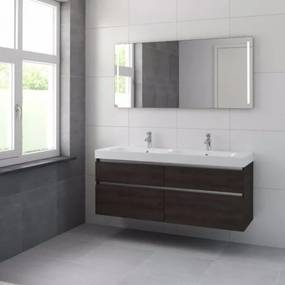 Bruynzeel Pinto badmeubelset 150x65.3x46cm spiegel dubbele kom gladstone 223088k