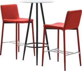 3-delige Barset kunstleer rood