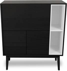 Wood and Vision Urban Narrow Highboard opbergkast wit frame zwart eiken