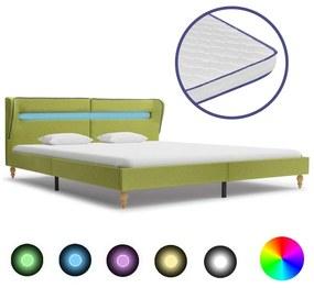Medina Bed met LED en traagschuim matras stof groen 160x200 cm