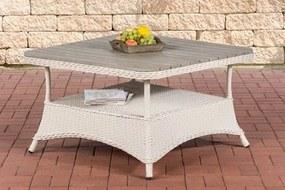 Design outdoor lounge tafel PANDORA hoogte 60 cm tafelblad WPC 5 mm rotan gaas ALU frame met opbergruimte houttafelblad - wit 80 x 80 cm