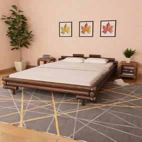 Bedframe bamboe donkerbruin 160x200 cm