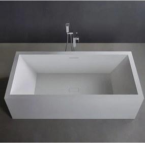Ligbad Vrijstaand Ideavit Solidvitas Rechthoek 80x180x58cm Solid Surface Mat Wit met Overloop