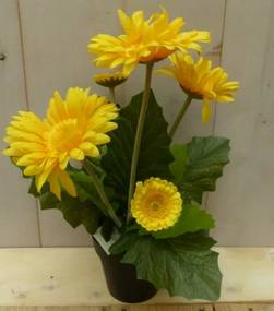 Kunstgerbera geel in pot