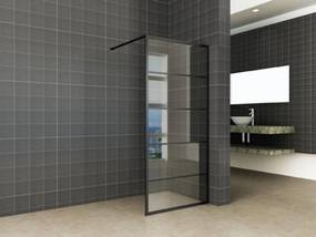 Industrial Black Douchewand met Nano Glas 90x200 cm Mat Zwart
