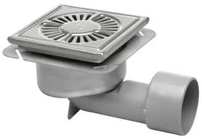Aquaberg RVS vloerput onderuitlaat met emmer 20x20cm RVS rooster 75mm vastzetbaar 782203075S