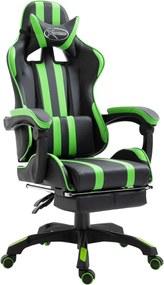 Gamestoel met voetensteun kunstleer groen