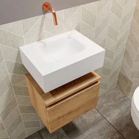 MONDIAZ ANDOR Toiletmeubel 40x30x30cm met 0 kraangaten 1 lades washed oak mat Wastafel Lex midden Solid Surface Wit FK75343362