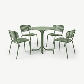 Emu tuintafel met 4 stoelen van gepoedercoat staal, groen