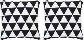 Kussens 2 st bedrukt 40x40 cm katoen zwart en wit