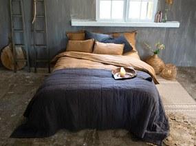 Dekbedovertrek donkerblauw, linnen & katoen, Sofie Lits-jumeaux (240-200 cm)