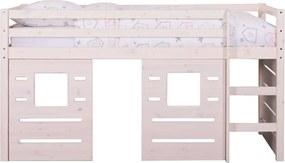 Halfhoogslaper Ties (incl. hutwanden) - whitewash - 90x200x112 cm - Leen Bakker