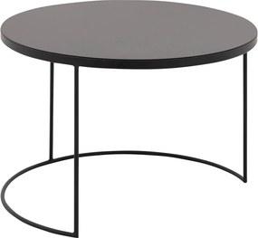 Goossens Salontafel Oda rond, metaal zwart, elegant chic, 80 x 41 x 80 cm