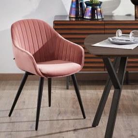 Kave Home Eetkamerstoel 'Herbert' Velvet, kleur Roze