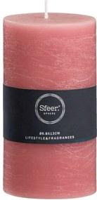 Sfeer stompkaars Rustiek - roze - 13xØ6,8 cm - Leen Bakker