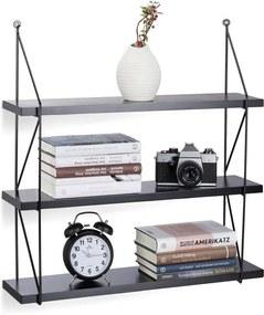 Wandrek 3 etages - MDF hout met metalen frame - wandplank open - fotoplank zwart