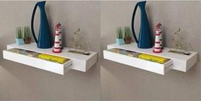 Wandplanken zwevend met lades 2 st 80 cm wit