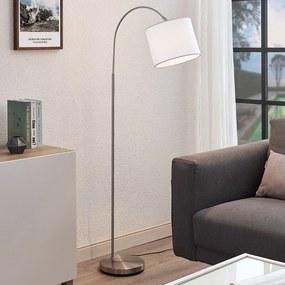 Gebogen vloerlamp Mateji met witte lampenkap - lampen-24