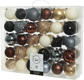 Kerstballen Mix 60 st. - Wit/Goud/Zilver/Zwart