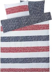 Satijnen dekbedovertrek 200 x 200 cm Donkerblauw/rood/wit