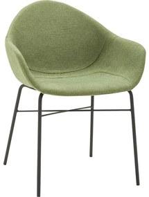 Goossens Eetkamerstoel Berlin groen stof met arm, elegant chic