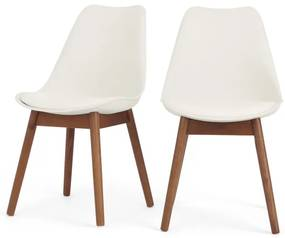 Set of 2 Thelma dining chairs, Dark Stain Oak and White