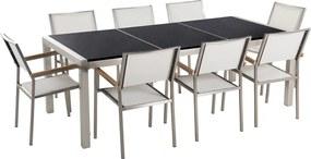 Tuinmeubel - Natuurstenen tafel 220 cm zwart gepolijst met 8 witte stoelen - GROSSETO