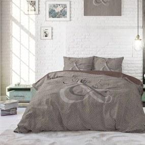 DreamHouse Bedding Mr and Mrs Knitted - Taupe 1-persoons (140 x 220 cm + 1 kussensloop) Dekbedovertrek