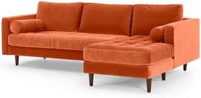 Scott 4-zitsbank met hoek rechts, gebrand oranje katoenfluweel